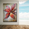 Red Bloom Floral Modern Texture Floral Palette Knife Painting for Room Wall Adornment