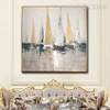 Calico Sailing Boat Modern Framed Heavy Texture Handmade Nature Portmanteau for Wall Decor Design