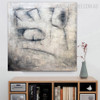 Eyes Abstract Contemporary Framed Heavy Texture Oil Vignette on Canvas for Study Room Wall Getup