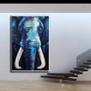 Blue Elephant Abstract Animal Framed Handmade Oil Vignette for Wall Decoration