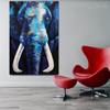 Blue Elephant Abstract Animal Framed Handmade Oil Vignette for Lounge Room Wall Drape