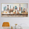 Empire State Building Cityscape Abstract Knife Delineation on Canvas for Dining Room Wall Tracery