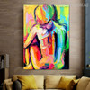 Nude Girl Abstract Figure Framed Knife Effigy for Room Wall Disposition