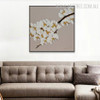 White Pear Flowers Floral Framed Heavy Texture Handmade Painting for Room Wall Garniture