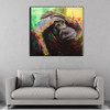 Wild Monkey Abstract Animal Framed Handmade Oil Painting for Room Wall Ornament