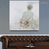 Sexual Girl Back Abstract Heavy Texture Framed Painting on Canvas