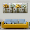 Flower Gusset Abstract Floral Texture Framed Handmade Canvas Artwork for Room Wall Adornment
