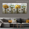 Flower Gusset Abstract Floral Texture Framed Handmade Canvas Artwork for Room Wall Garniture