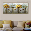 Flower Gusset Abstract Floral Texture Framed Handmade Canvas Artwork for Wall Hanging Decor
