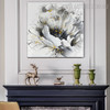 White Rose Abstract Botanical Framed Portrayal for Room Wall Assortment