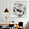 White Rose Abstract Botanical Framed Portrayal for Room Wall Ornament