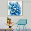 Blue Blossom Abstract Botanical Framed Smudge for Room Wall Decoration
