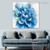 Blue Blossom Abstract Botanical Framed Smudge for Room Wall Adornment