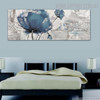 Blue Poppy Abstract Floral Panoramic Framed Handmade Painting for Room Wall Getup