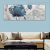 Blue Poppy Abstract Floral Panoramic Framed Handmade Painting for Room Wall Onlay