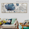 Blue Poppy Abstract Floral Panoramic Framed Handmade Painting for Room Wall Finery