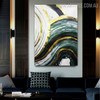 Curved Brush Effect Modern Abstract Framed Painting for Living Room Wall Assortment