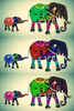 Elephant with Baby Elephant Pop Art