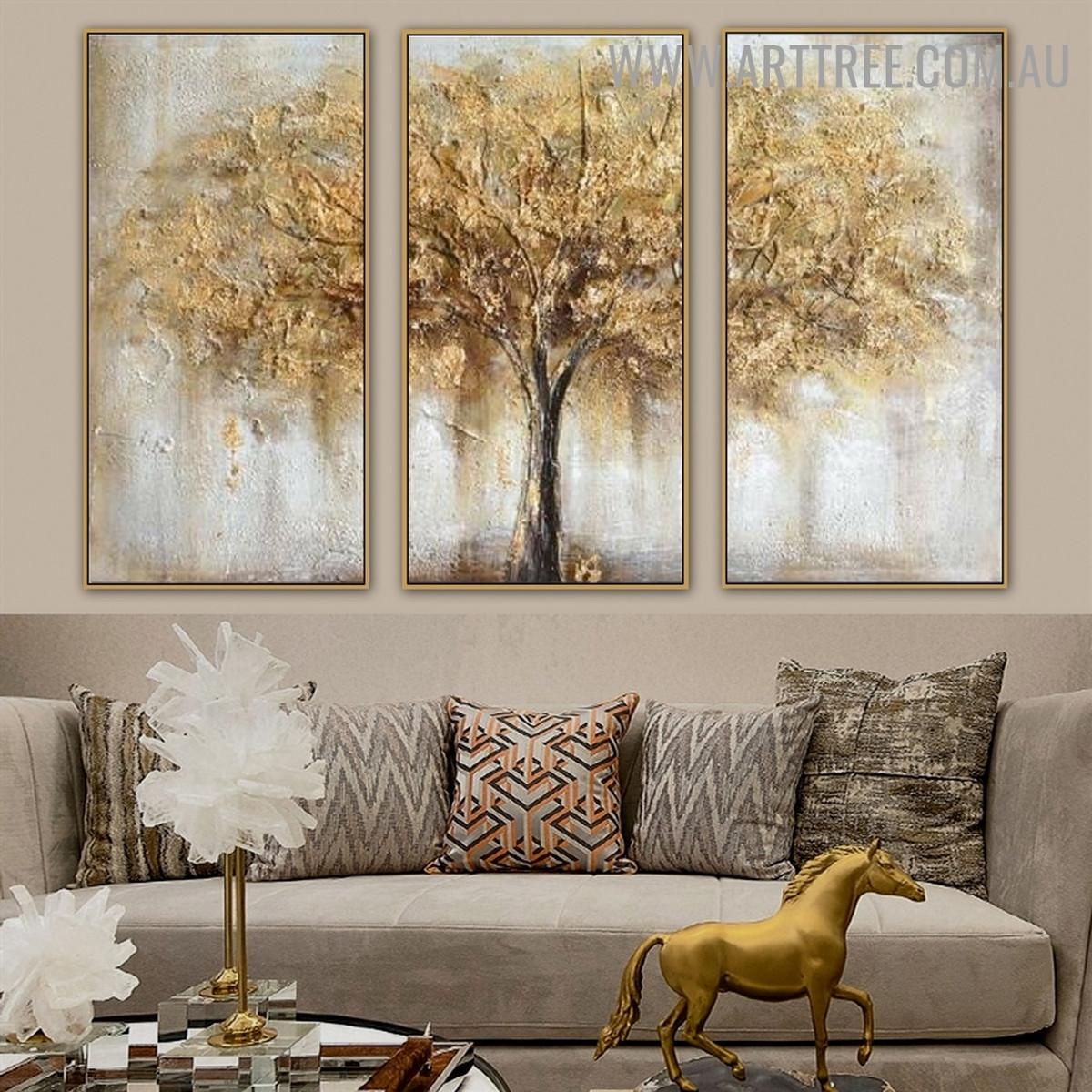 Auburn Tree Heavy Texture Handmade 3 Piece Multi Panel Canvas Painting Wall Art Set for Wall Ornamentation