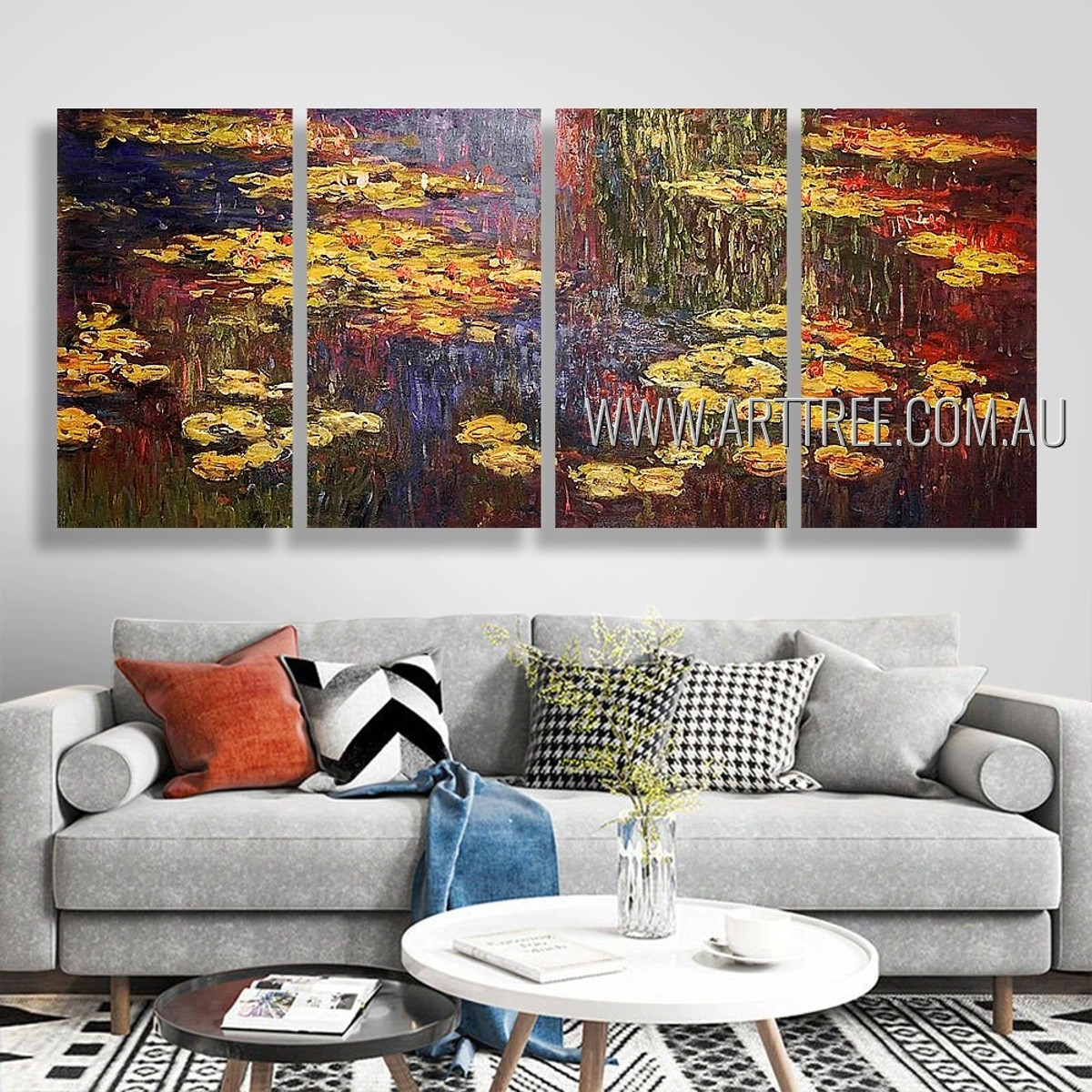 Water Lilies Landscape Vintage Heavy Texture Handmade 4 Piece Split Canvas Paintings Wall Art Set For Room Disposition