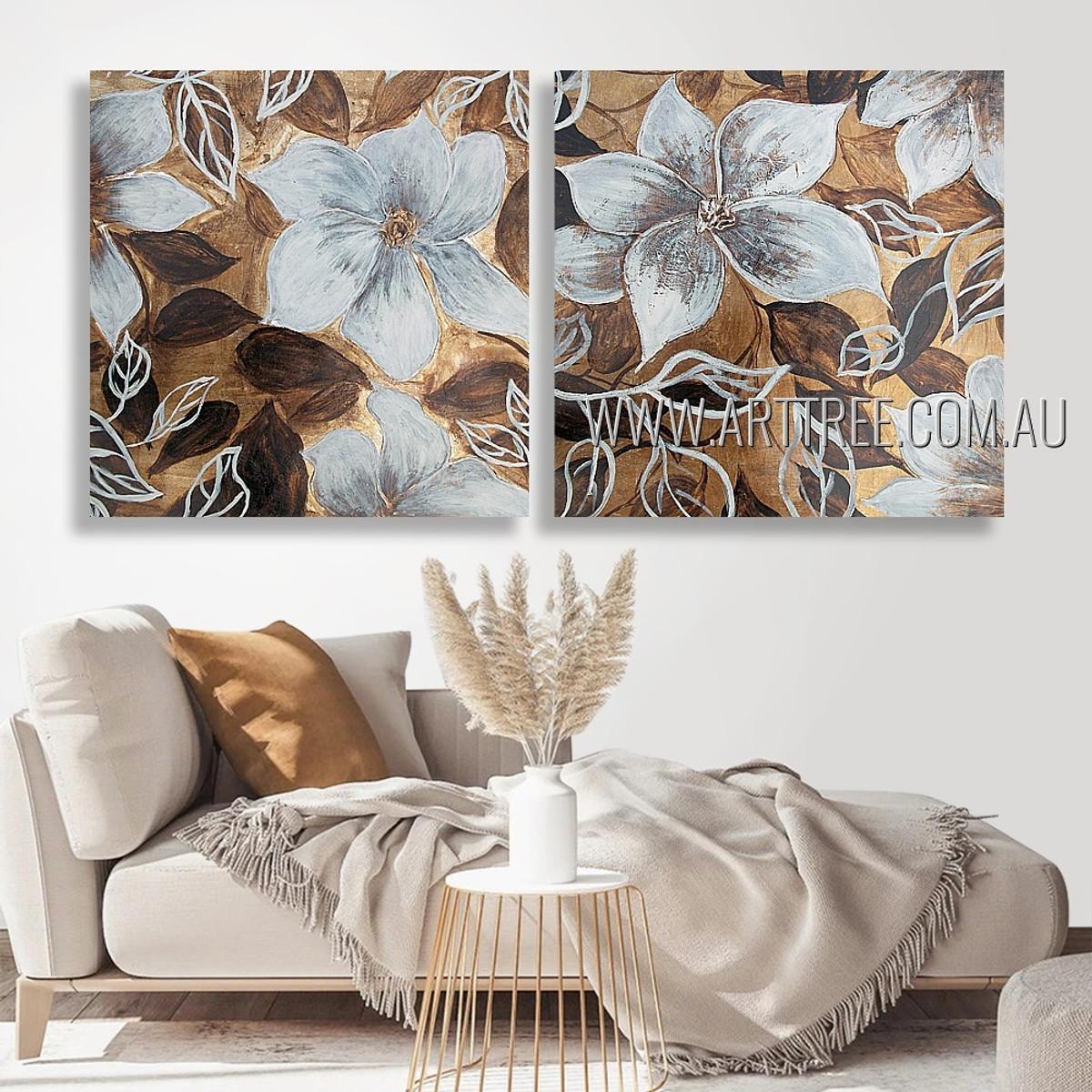 White Petal Blooms Floral Vintage Heavy Texture Artist Handmade 2 Piece Multi Panel Wall Art Paintings Set For Room Garnish