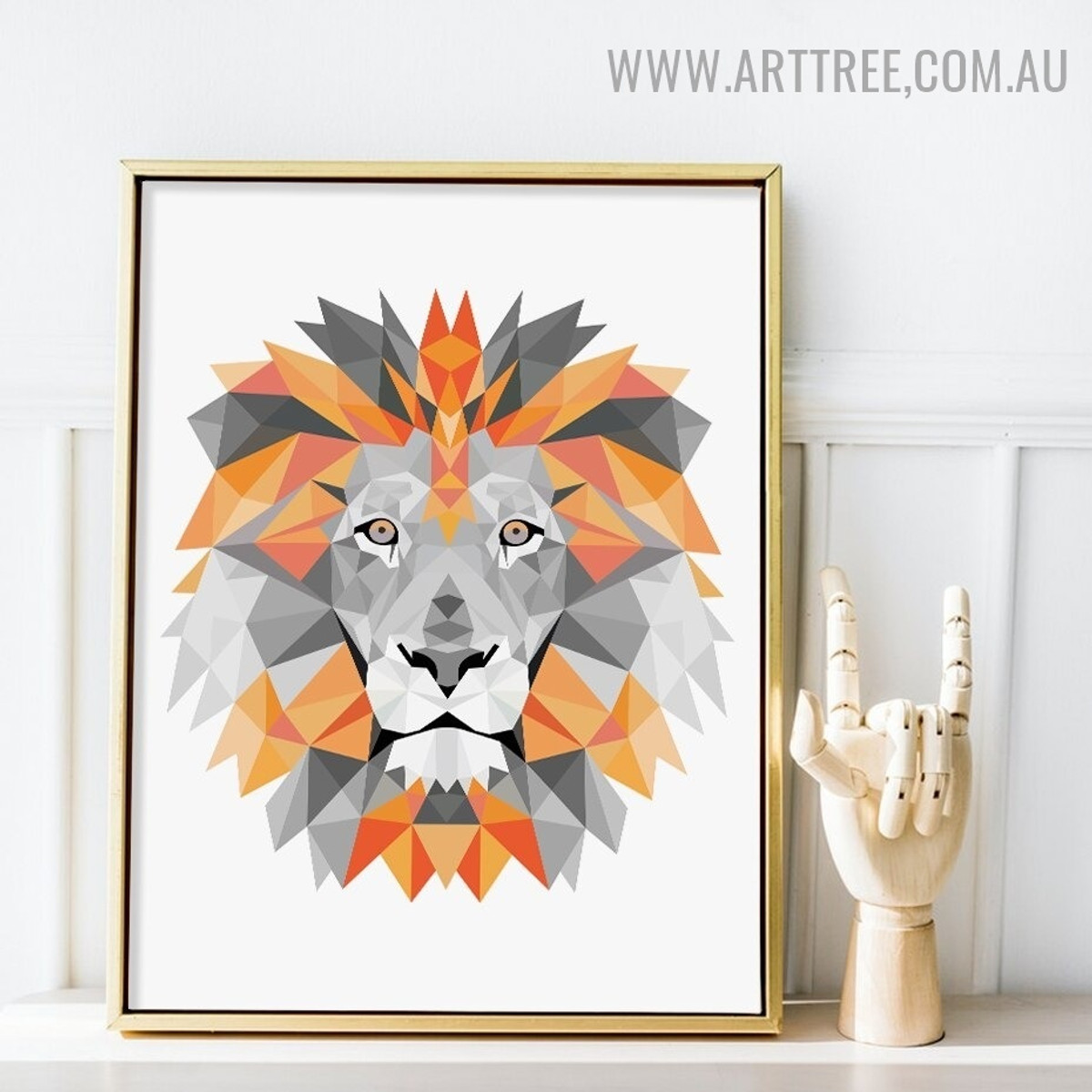 Motley Lion Triangles Modern Animal Picture Canvas Print Geometrical Artwork for Room Wall Ornament