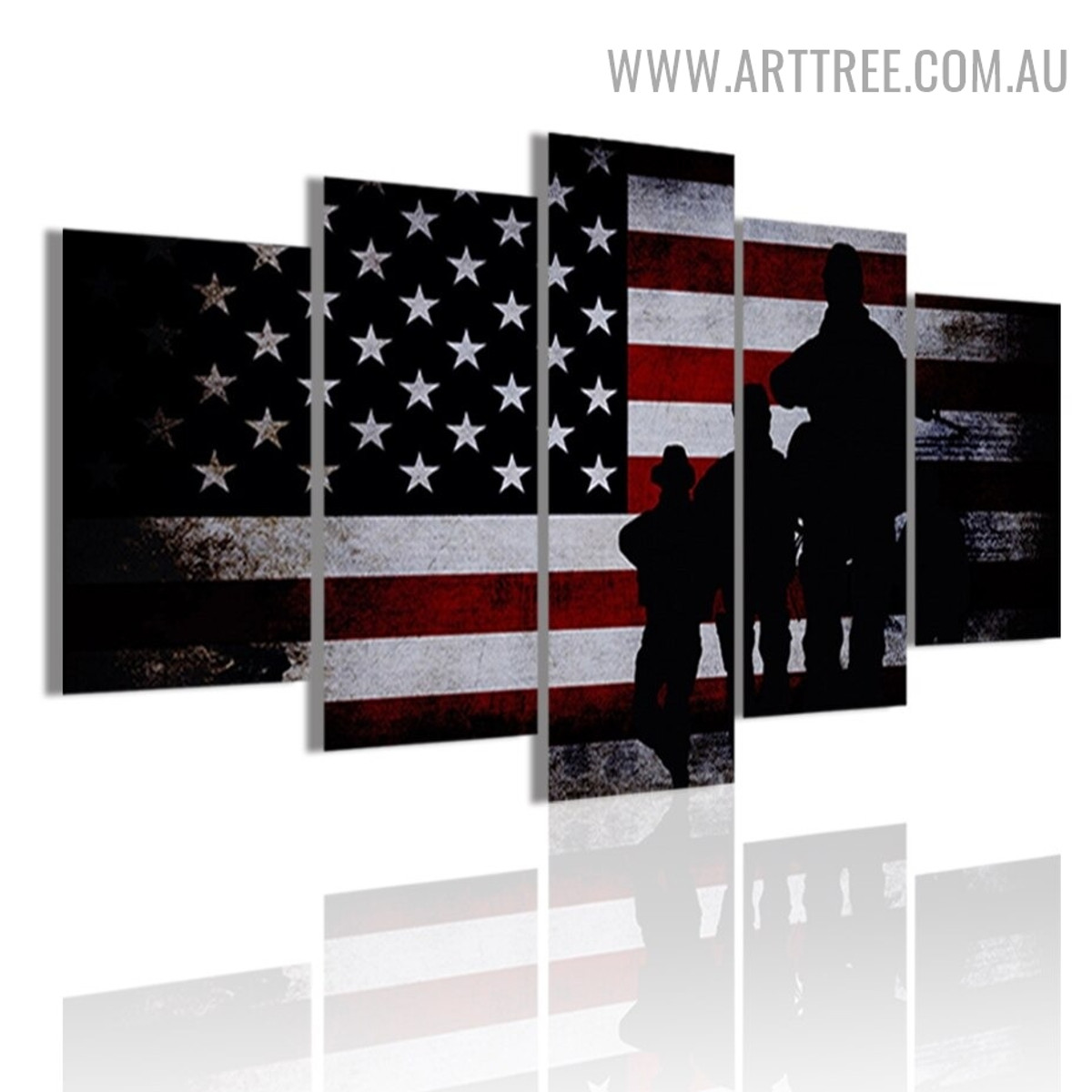 Military Army Soldiers Figure Modern Abstract 5 Multi Panel Image Canvas Art Print for Room Wall Ornament