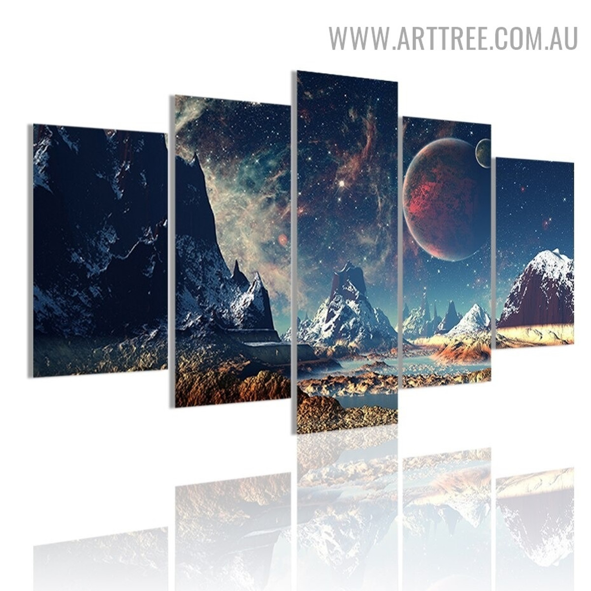Space Mount Galaxy Naturescape 5 Piece Multi Panel Image Contemporary Canvas Painting Print for Room Wall Embellishment