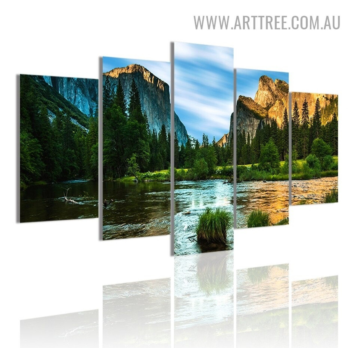Arbor Pond Trees Modern 5 Piece Over Size Naturescape Landscape Artwork Image Canvas Print for Room Wall Finery