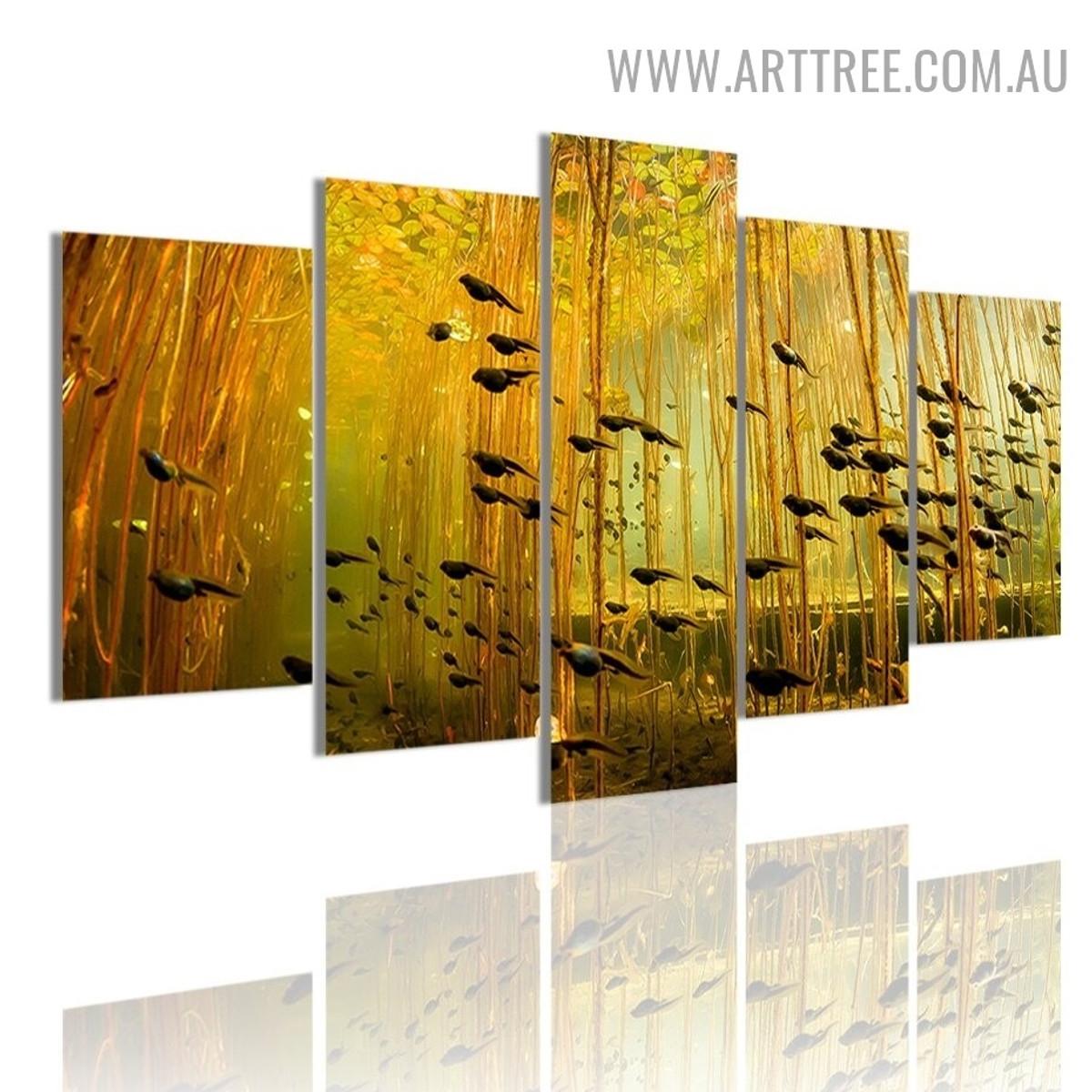 Swim Tadpoles Trees Animal Modern 5 Piece Split Wall Art Image Canvas Print for Room Trimming