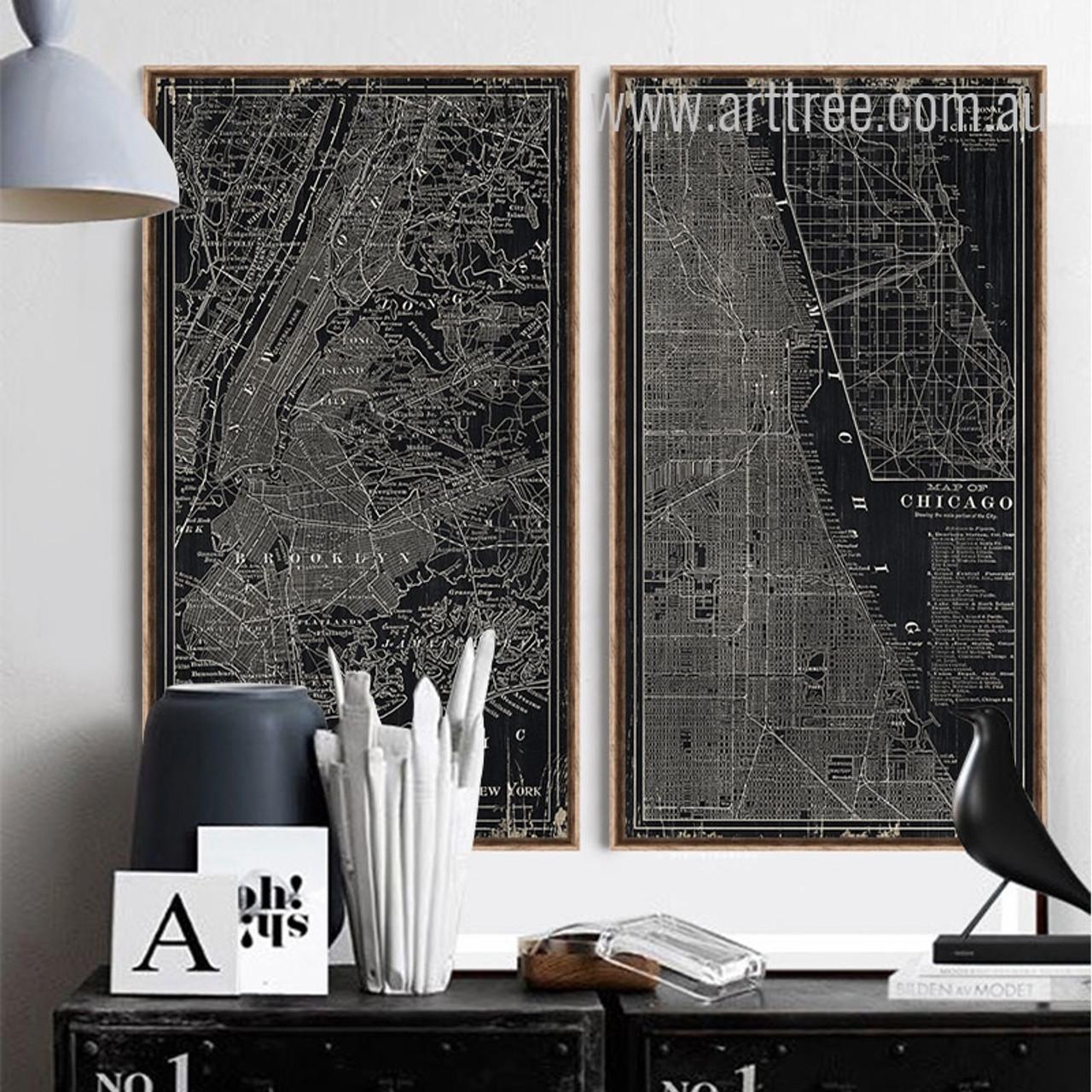 Chicago Map Canvas.New York Map Arttree