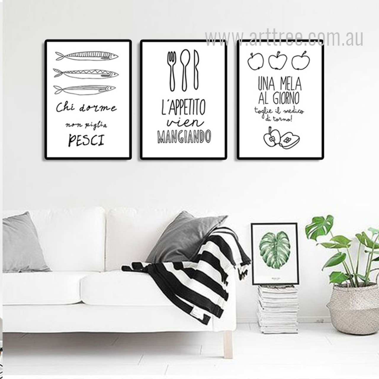 Lappetito Una Mela Quote Unframed 3 Piece Canvas Wall Art Digital Prints Pisce