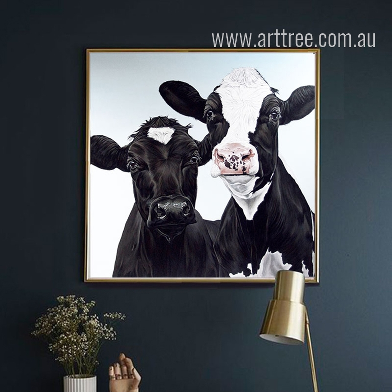 Canvas Print Digital Wall Art Black and White Cow Cattle Animal Design Unframed