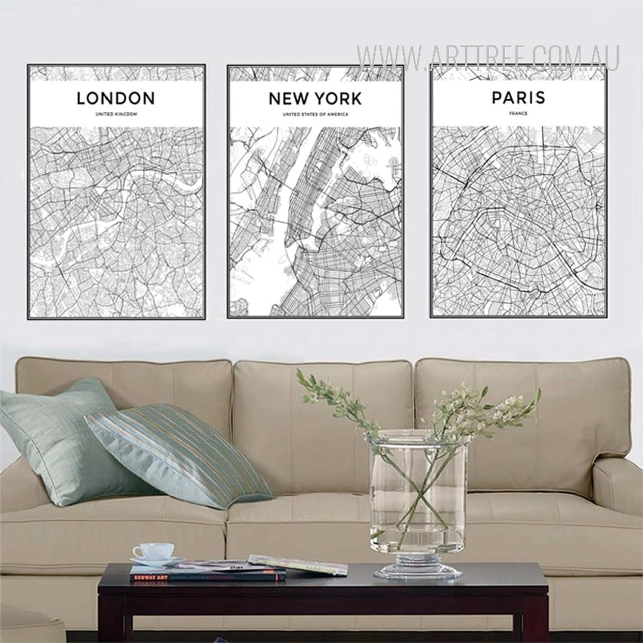 London, New York, Paris Map