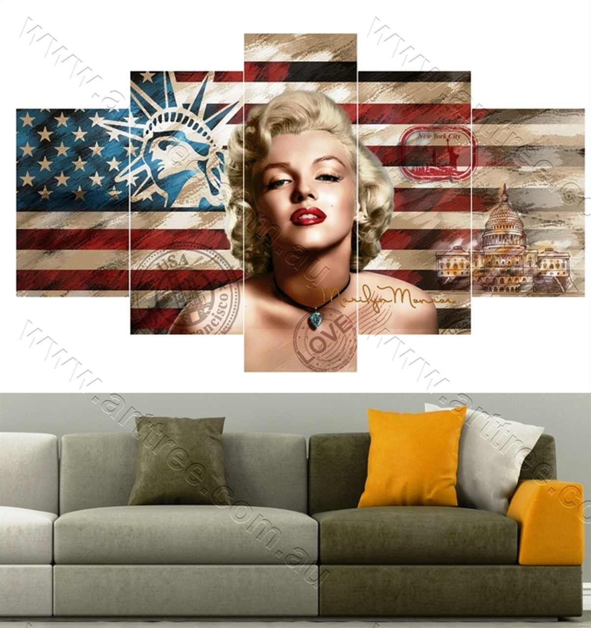5 Piece Canvas Wall Art Australia for Living Room