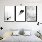 Boats, Feather, Minimal Flying Birds Art Set