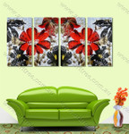 Red Calendula Floral split canvas painting