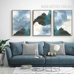 Modern Abstract Landscape Golden Birds 3 Piece Canvas Prints