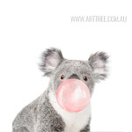 Lovely Koala Pes Animal Blowing Bubble Canvas Wall Art
