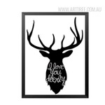 Black and White I Love You Deerly Animal Canvas Print