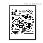 Black and White Abstract Fish Design Canvas Print