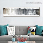 Grey Color Abstract Panoramic Painting Print