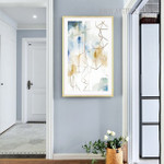 Fume Effect Abstract Watercolor Geometric Painting Print for Living Room Decoration