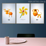Fruits Animal Abstract Creative Nordic Painting Print for Dining Room Wall Decoration