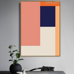 Orange Shades Abstract Geometric Scandinavian Painting Canvas Print for Dining Room Wall Ornament