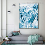 Cyan Abstract Modern Painting Print for Living Room Wall Ornament