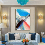 Red Abstract Modern Painting Canvas Print for Living Room Wall Adornment