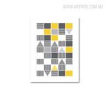 Yellow Triangle Abstract Geometric Scandinavian Artwork