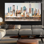 Empire State Building Cityscape Abstract Knife Delineation on Canvas for Living Room Drape