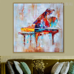 Piano Abstract Heavy Texture Framed Heavy Texture Artwork for Room Wall Decoration